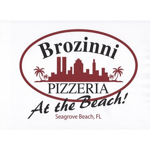 Brozinni Pizza at the Beach logo.