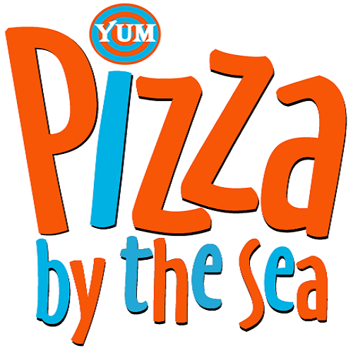 Pizza by the Sea in WaterColor logo.