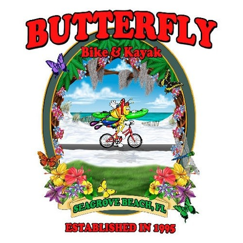 Butterfly Bike & Kayak Rentals logo.