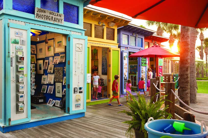 Colorful gallery shops in Gulf Place