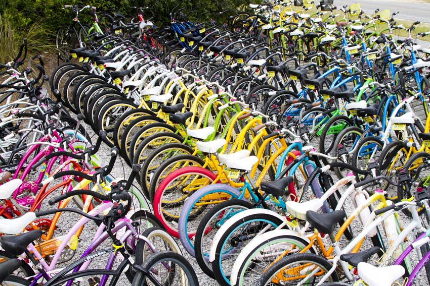 Rows of colorful bikes in South Walton