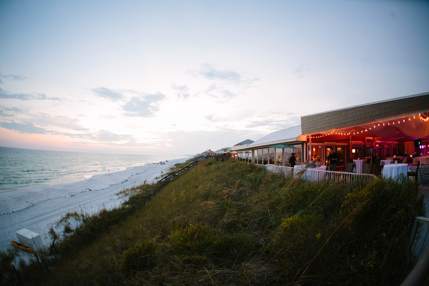 Exterior shot of Vue on 30a with beach view